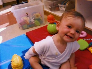Emily in the Oncology playroom the day she's admitted to CHOC.
