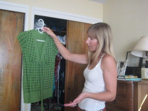 Vanessa took each piece out of the closet and suggested ways to wear it.