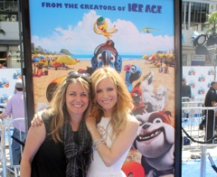 "Meeting Leslie Mann on the ""blue"" carpet."